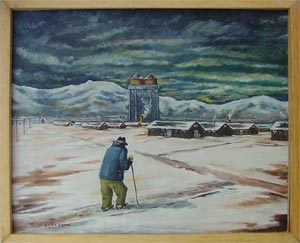 Painting of an elderly man looking over Topaz Camp in the snow