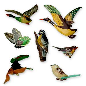 Carved and painted wooden bird brooches
