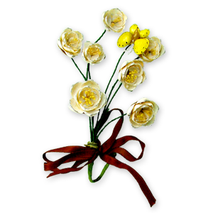 Yellow floral brooch made of seashells