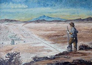 A painting of a farmer overlooking the Topaz Camp