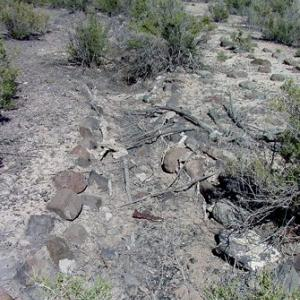 Stones that were part of a garden at the Topaz Camp site
