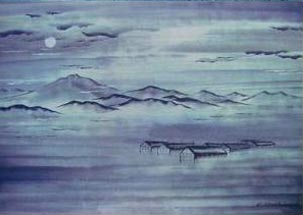 Painting of mountains, clouds, and sky.