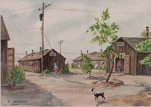 Painting of a dog among the Topaz Camp barracks