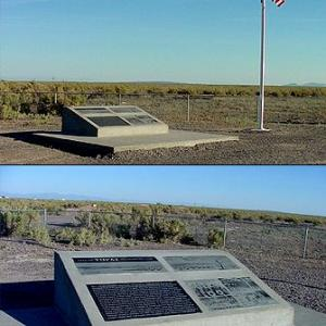 Topaz monument and American flag