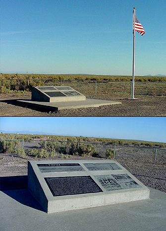 Photo of Topaz Historic Site Marker and American flag