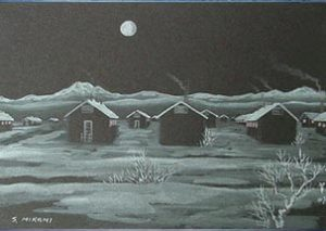 Painting of the Topaz Barracks in snow at night