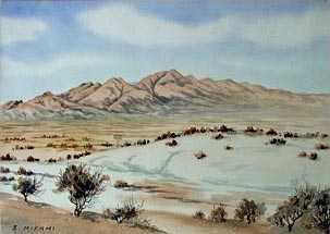 Painting of the Utah desert and distant mountains