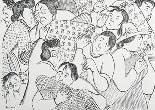 Drawing of bustling people with bedrolls and possessions