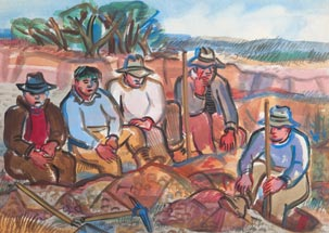 Painting of men resting at work with shovels and pick axes.
