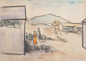 A sketch of people outside the Topaz Barracks