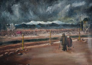 Painting of an older couple looking toward the desert from the Topaz Camp