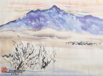 Painting of the Utah desert with mountains in the distance